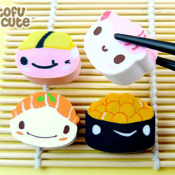 Buy Kawaii Sushi Characters Eraser Set at Tofu Cute
