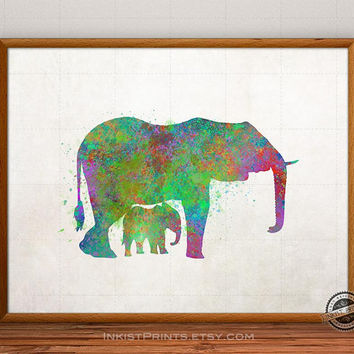 Elephant Print Watercolor, Animal Poster, Baby Wild Art, Family Illustration, Watercolour, Giclee Wall, Artwork, Comic, Fine, Home Decor