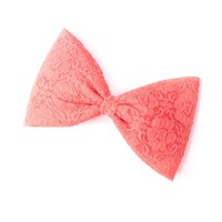 Large Coral Lace Bow Hair Clip with Pin Back | Icing