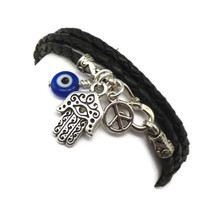 Leather Wrap Bracelet with Hamsa Evil Eye and by charmeddesign1012