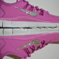 SALE!! Nike Free Run 5.0 + Shoes - Red Violet / Bright Magenta /Summit White /Iron Ore - Bedazzled with 100% Swarovski Elements Crystals