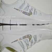 Nike Free 5.0+ Women's Running Shoes -  White / Metallic Silver / Pure Platinum - Bedazzled with 100% Swarovski Elements Crystals