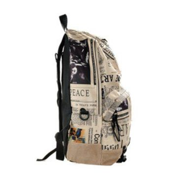 European and American Style Vintage Map Pack Package Packet Newspapers Flag Backpack Leisure Package Students Bags-light Colour