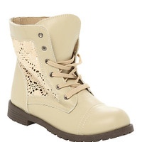 Cream Crochet Combat Boot