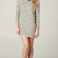 OATMEAL STRIPED OVERSIZE TUNIC DRESS | PUBLIK | Women's Clothing & Accessories