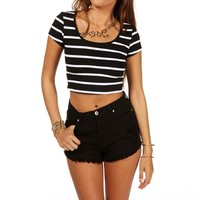 Promo-striped Crop Top