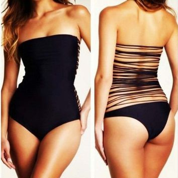 Sexy Black One Piece Monokini Straps Back Frnges Tassels Bathing Suit Swimwear (Small (US2))
