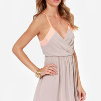 LULUS Exclusive Raise the Stakes Peach and Beige Dress