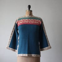 vintage 1970's teal southwestern sweater by Thrush on Etsy