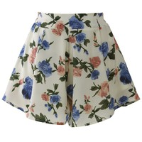 Rose Print Shorts in Off-White Beige S/M