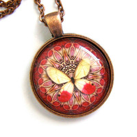 Red and Yellow Butterfly Necklace Glass Antique by ZuliDesigns