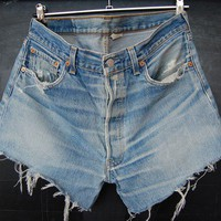 80s high waisted old blue frayed levis denim shorts by Deadenim