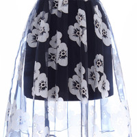 ROMWE Mesh Panel Floral Print Trasparent Black Skirt