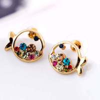 Colorful Crystal Golden Fish Earrings