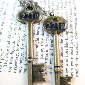The Key to 221B: Sherlock Best Friends Necklace Set