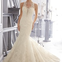 Mori Lee 2683 High Neck Lace Wedding Dress