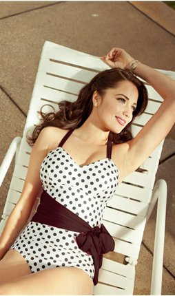 Polka Dot Swimsuit with Sash