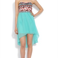 High Low Dress with Tribal Bodice and Open Bow Back