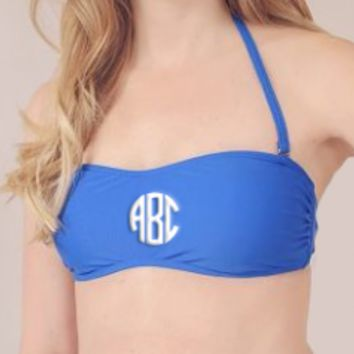 Blue Bandeau Bathing Suite Top