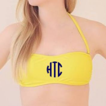 Yellow Bandeau Bathing Suite Top