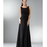 2014 Prom Dresses - Black Chiffon Bateau Evening Gown