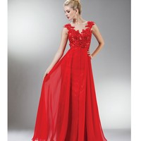 Red Beaded Lace Mesh Cap Sleeve Long Dress Prom 2015