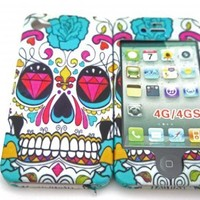 iphone 4 4S Sugar Skulls Multi Tattoo Diamond Eye Trend Fashion Full case Cover Front&Back