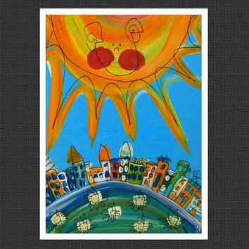 Cityscape with Happy Sun - light blue - 5x7 Art PRINT by Catru