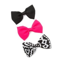 Aztec, Black and Pink Chiffon Bow Hair Clips Set of 3 | Claire's