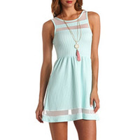 TEXTURED MESH-STRIPED SKATER DRESS