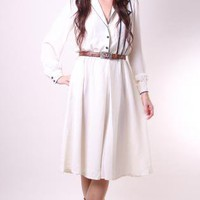 Vintage Dress 70s Hippy Indie, Cream and Navy Blue with Pock by Nullify Anew Apparel | UsTrendy