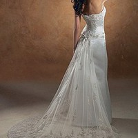 Buy Exquisite Elegant Divine Satin Sheath Wedding Dress In Great Handwork