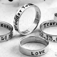 Custom Ring hand stamped with your message  by KathrynRiechert
