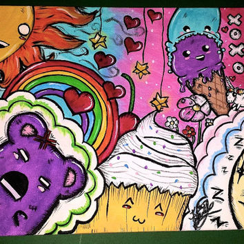 Happy Cluster. Art. Kawaii. Pastel. Rainbow. Cupcake. Ice cream. Gummi bear. Cute. Sweet. Colorful. Painting. Original artwork. Colorful art