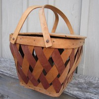 Vintage 1940s wood wicker Picnic Basket | thecountrybarn - Baskets on ArtFire