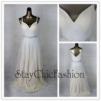 White long Jeweled Straps V Neck Ruched Dress for Prom Sale
