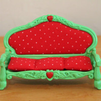 Vintage Strawberry Shortcake Berry Happy Home Dollhouse Furniture-  Sofa with Cushion