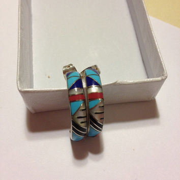 Navajo Inlay Hoops Earrings Blue Turquoise Lapis Red Coral Sterling Silver 925 MOP Pearl Onyx Vintage Native Tribal Southwestern Jewelry