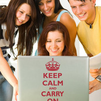 Laptop Keep Calm and Carry On decal sticker