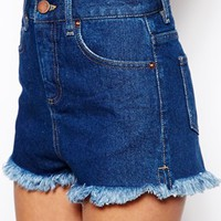 ASOS High Waisted Denim Shorts with Side Splits in Rich Blue