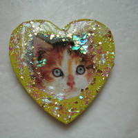 Orange and White Kitty Glitter Pin