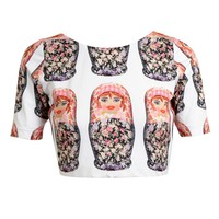 NATASHA ZINKO | Matreshka Printed Stretch Crop Top | Browns fashion & designer clothes & clothing