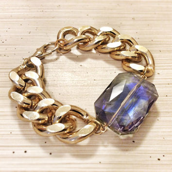 Chunky Chain Bracelet Amethyst Glass Bead18K Gold Plated Thick Statement Michael Kors Marc Jacobs Celebrity Inspired