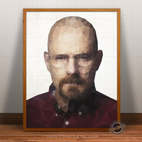 Walter White print, Breaking Bad, Walter White poster, Geometric Illustration, Triangle Shape, Polygon Wall Art, decor