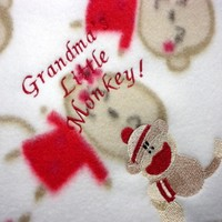 Baby Blanket Grandmas Little Monkey Handmade Fleece Embroidered