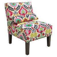 Bergman Armless Chair, Pink/Multi