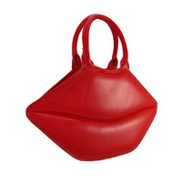 Glossy Red Lips Patent Vinyl Handbag