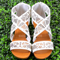 Isle of Sun White Strappy Cutout Sandal