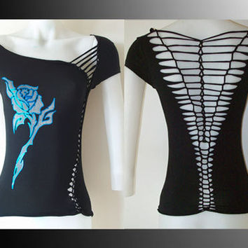Womens/Junior Custom Cut Shirt Black Top Blue by LasciviousGrace