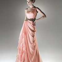 pictures of Chiffon a-line one-shoulder sweetheart pink 2011 Love by Enzoani Prom Dresses EPD0088